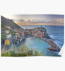 Vernazza Morning Clouds, Cinque Terre, Italy Poster