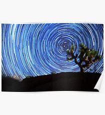Stunning Circular Star Trails Above Joshua Tree Desert Poster
