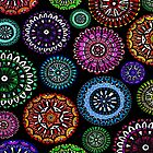 Bright Coloured Doodle Discs by Faye Maguire