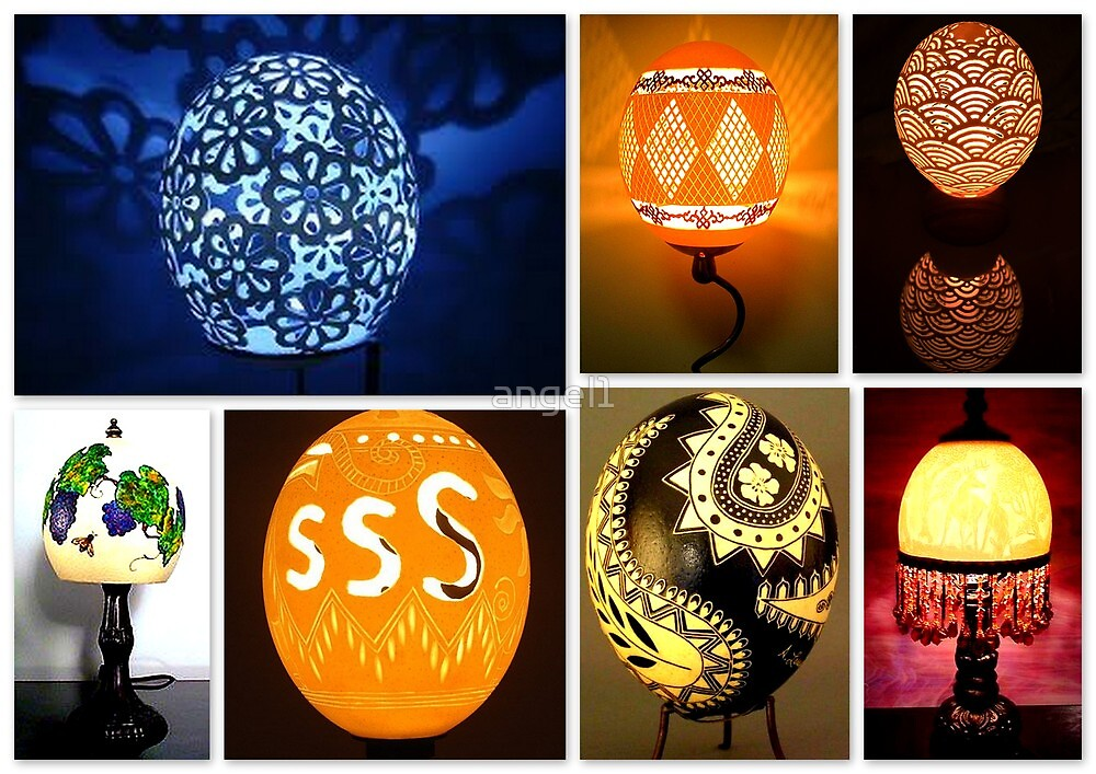 Ostrich egg art & lamps by ©The Creative  Minds