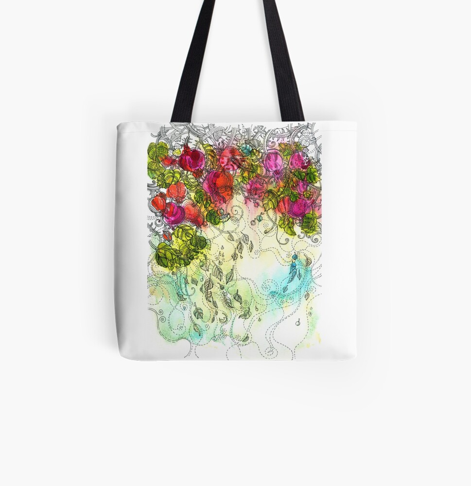 Rose Hips All Over Print Tote Bag