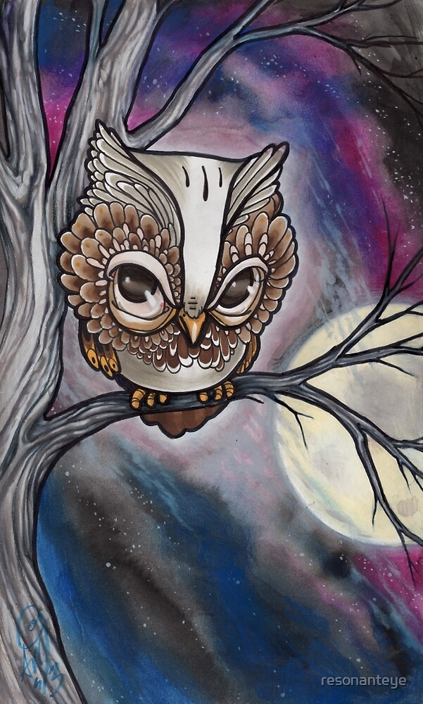 shy night owl painting. by resonanteye