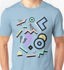 80s Pattern Vaporwave Memphis Pastel Squiggles Slim Fit T-Shirt