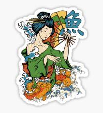 Japanese Geisha Koi Sticker