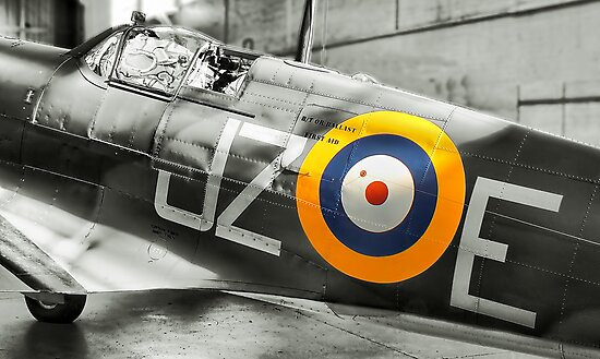 Sunlight On Spitfire - HDR BW by Colin  Williams Photography