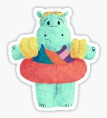Nervous Beachy Hippo Sticker