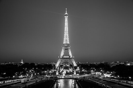 Eiffel tower in black white by andrew mariya rovenko