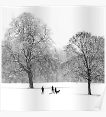 Silhouettes in the Snow Poster