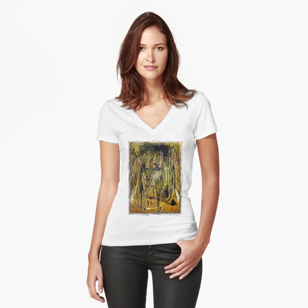 Liquid Eyes Women's Fitted V-Neck T-Shirt Front