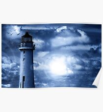 Lighthouse Collaboration in Blue Poster