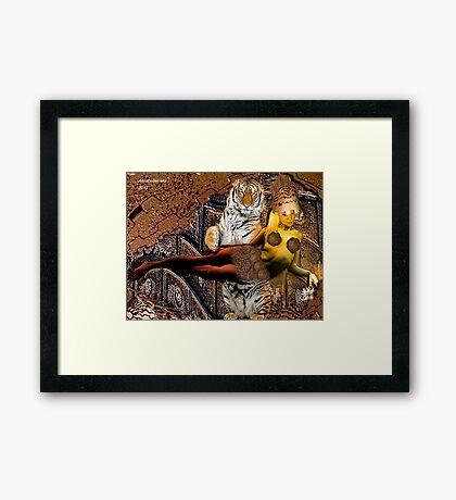 Viking princess with her tiger Framed Print