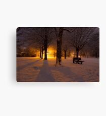 Gildredge park snow light Canvas Print