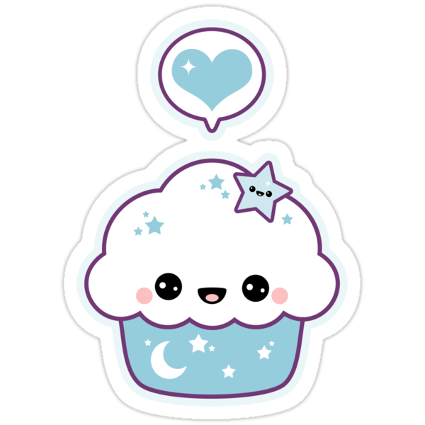 Kawaii space cake stickers by sugarhai redbubble for Cute muffin drawing