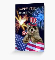 Fourth Of July Raccoon Greeting Card