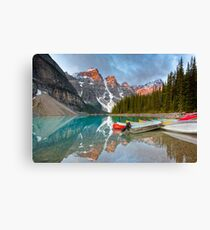 Moraine Lake Boats in Banff National park, the Canadian Rockies Canvas Print