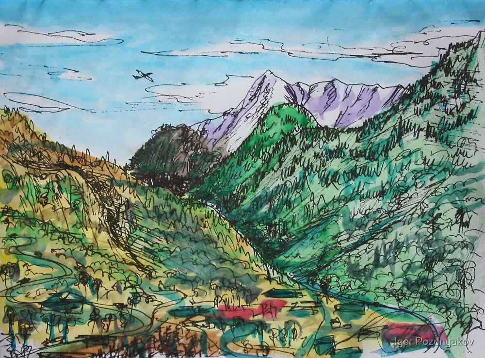 Watercolor Sketch - A View in the Direction of Saint Gotthard Pass. Ticino, Switzerland by Igor Pozdnyakov