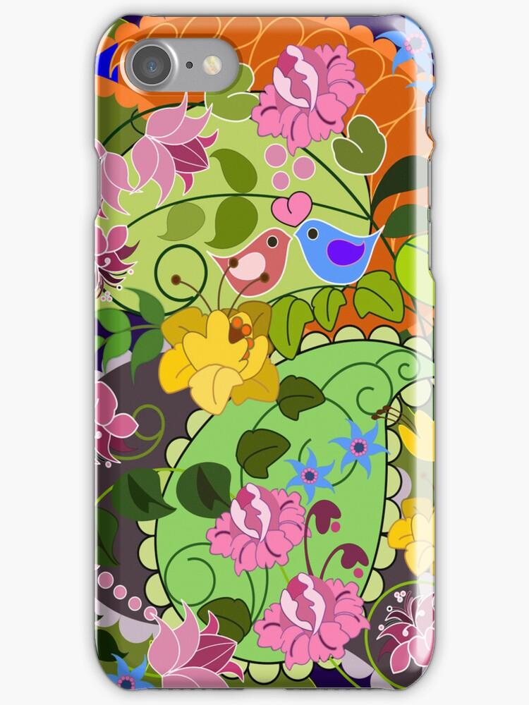 Colourful faux vintage flowers, swirls & love birds by walstraasart