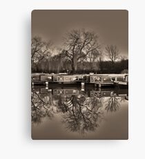 Winter on the Canal Sepia Canvas Print