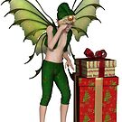 Christmas Fairy Elf Boy with Pile of Presents by algoldesigns
