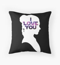 Star Wars Leia 'I Love You' White Silhouette Couple Tee Throw Pillow