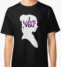 Star Wars Leia 'I Love You' White Silhouette Couple Tee Classic T-Shirt
