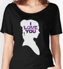 Star Wars Leia 'I Love You' White Silhouette Couple Tee Women's Relaxed Fit T-Shirt