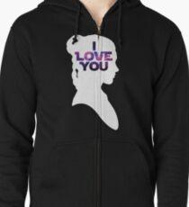 Star Wars Leia 'I Love You' White Silhouette Couple Tee Zipped Hoodie