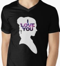 Star Wars Leia 'I Love You' White Silhouette Couple Tee Men's V-Neck T-Shirt