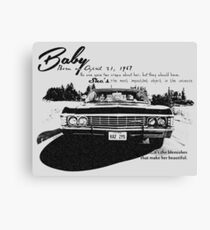 Baby Supernatural 67 Impala Canvas Print