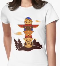 64bit Totem Pole Womens Fitted T-Shirt