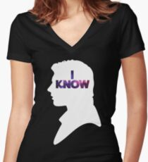 Star Wars Han 'I Know' White Silhouette Couple Tee  Women's Fitted V-Neck T-Shirt
