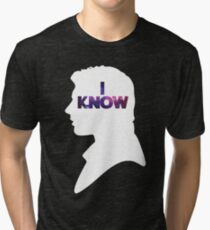 Star Wars Han 'I Know' White Silhouette Couple Tee  Tri-blend T-Shirt