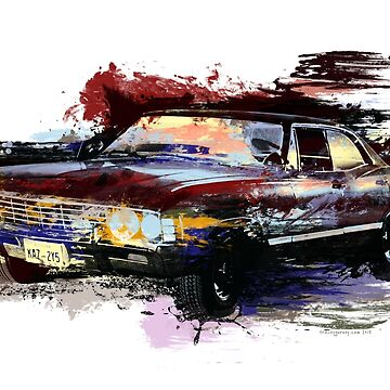 Baby Supernatural 67 Impala Watercolor by Ryleh-Mason