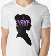 Star Wars Leia 'I Love You' Black Silhouette Couple Tee Men's V-Neck T-Shirt