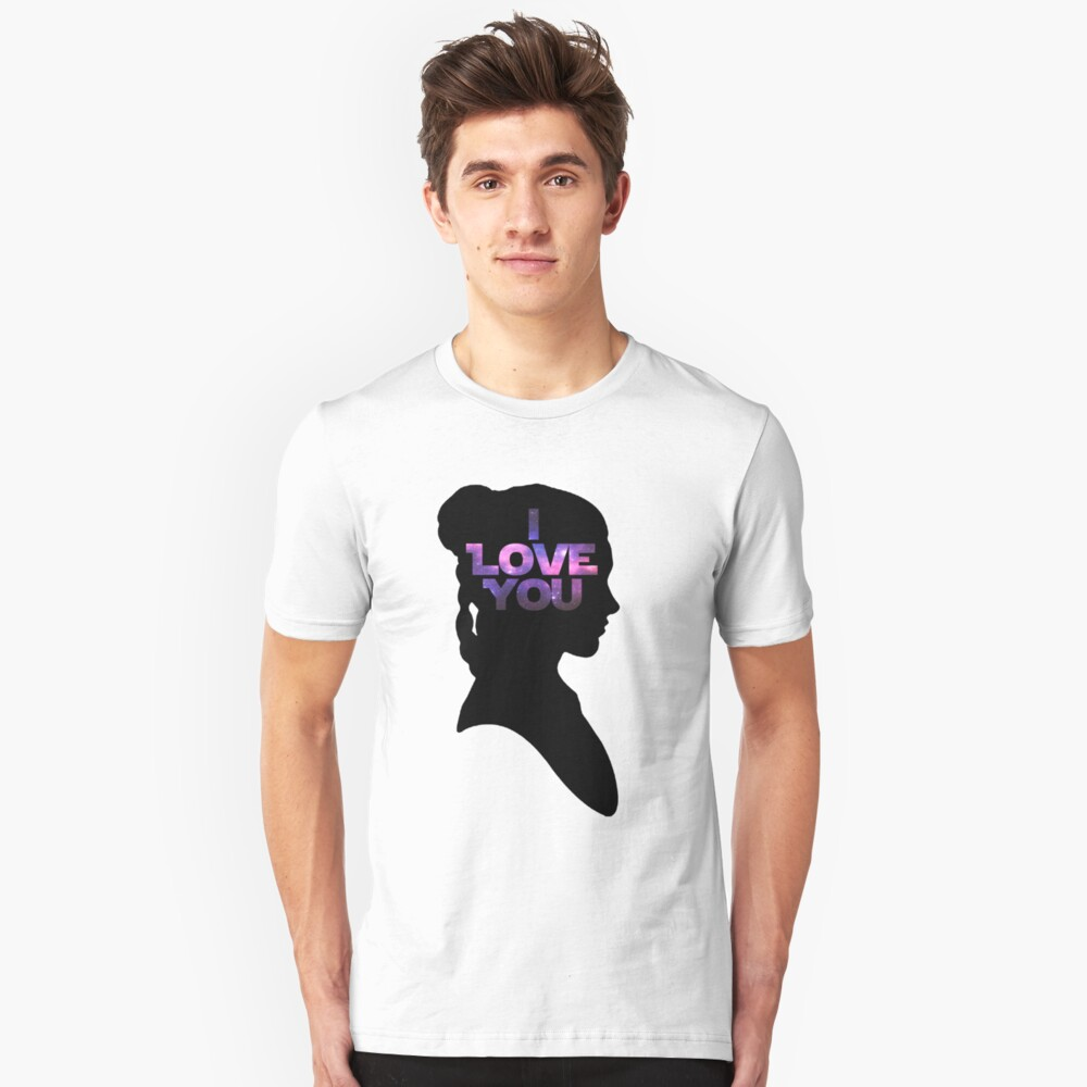 Star Wars Leia 'I Love You' Black Silhouette Couple Tee Unisex T-Shirt Front