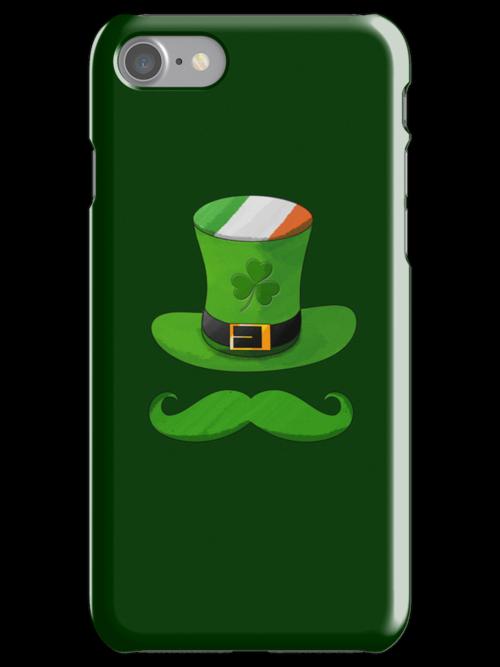 Shamrock Leprechaun Hat of Ireland Flag with Green Mustache by scottorz