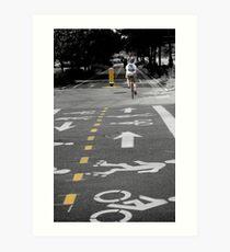 Single Biker on the Road Art Print