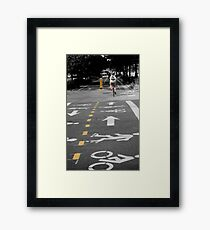 Single Biker on the Road Framed Print