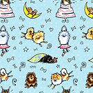 Pomeranian Pattern Blue by offleashart