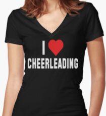 I Love Cheerleading Dark Women's Fitted V-Neck T-Shirt