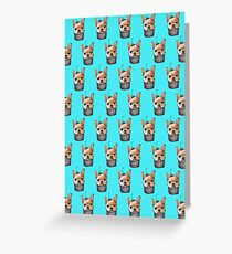 """Cherry on Pup"" Frenchie Cake Pattern Blue Greeting Card"