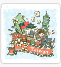 Lovely Taiwan cultural illustration  Sticker
