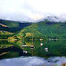Boats on Loch Leven, Scotland by hans p olsen