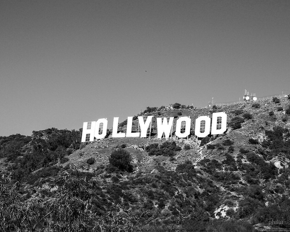 Hollywood Sign In Black And White