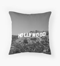 Hollywood sign in black and white. Throw Pillow