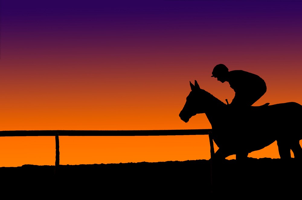 Quot Horse Racing Sunset Quot By Loutolou Redbubble