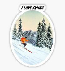 I LOVE SKIING With A Banner Sticker