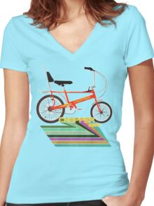 Chopper Bicycle Women's Fitted V-Neck T-Shirt