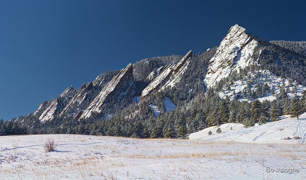 Snow Dusted Flatirons Boulder Colorado Panorama by Bo Insogna