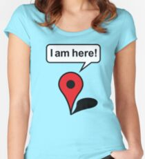I am here! Google Maps Women's Fitted Scoop T-Shirt